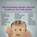 Hunger Doesn't End With the Holidays!   Join The Saratoga Springs Lions Club In Making A Difference.